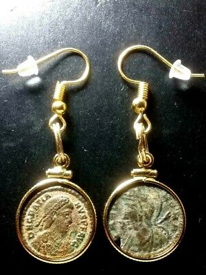 A Pair of Authentic Ancient Roman Coin Earrings Gold-Filled Bezel Pendants Lot#6