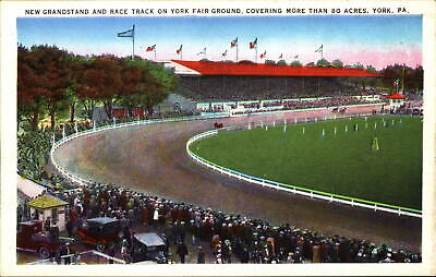 York Pennsylvania Race Track Fair Grounds grandstand horse antique car ~ 1930s