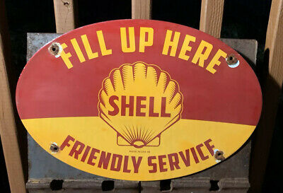 Large Old 1948 Dated Shell Service Products Porcelain Enamel Pump Sign