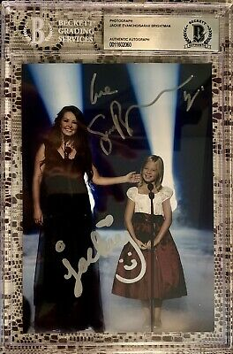 Jackie Evancho & Sarah Brightman Signed 5x7 Beckett Authentic BGS Slabbed Auto