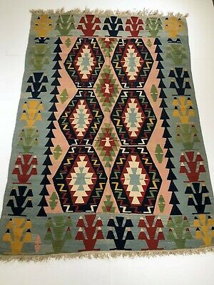Anatolian, Turkish Semi- Antique Kilim 5'5 x 8 Blue, Turquoise,  From 1970's