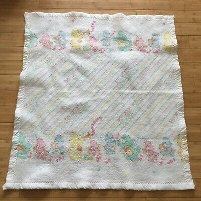 Vtg Care Bears Baby Blanket Satin Trim Cannon Falls USA Musical Instruments RARE