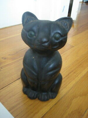 antique cast iron Black Cat DOORSTOP vtg hubley ? statue paperweight art deco