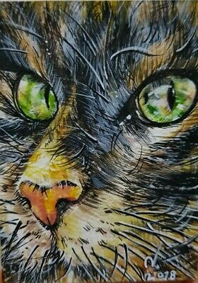 Original ACEO Painting Art Collect Card Gift Cat Green Eye Halloween Decor