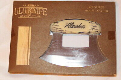 NIB-Alaskan Ulu Knife -Chopper -slicer- skinning W/ Cultured Moose Antler Handle
