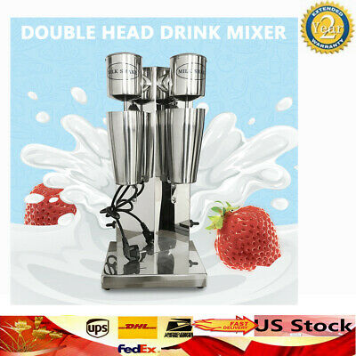 Commercial Stainless Steel Milk Shake Machine Double Head Drink Mixer 180W+180W