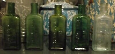 5 Different Colored Early Antique Embossed Piso's Cure For Consumption Bottles