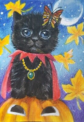 CAT ORIGINAL ACEO Painting Art Black Gift Card Collect Decor Halloween Pumpkin