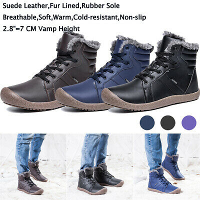 Mens Waterproof Snow Boots Warm Full Fur Lined Winter Rain Outdoor Ankle Boots