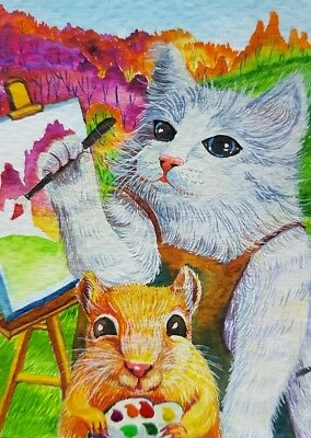 ORIGINAL ACEO Acrylic Painting Art Cat Artist Rat Mouse Autumn Card Gift Friend