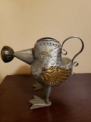 "Vintage Bird Shaped Metal Watering Can 12"" Tall Garden Yard Decor VERY NICE"