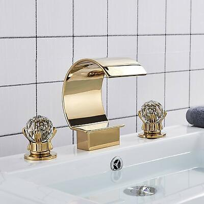 Gold Bathroom Waterfall Spout Basin Faucet 2 Crystal Deco Knobs Tub Filler Tap