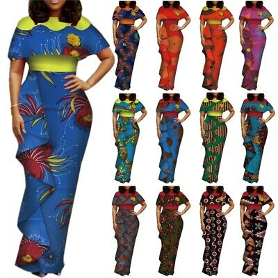 African Cotton Wax Party Dress Ankara Bazin Riche Women Ruffle Print Bodycon Rob