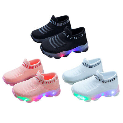 NEW Kids Boys Girls Glow LED Blink Trainers Sneakers Sport Running Shoes 21-30
