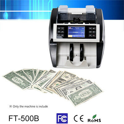 Money Bill Counter Machine Cash Counting Bank Counterfeit Detector UV MG MT O4K1
