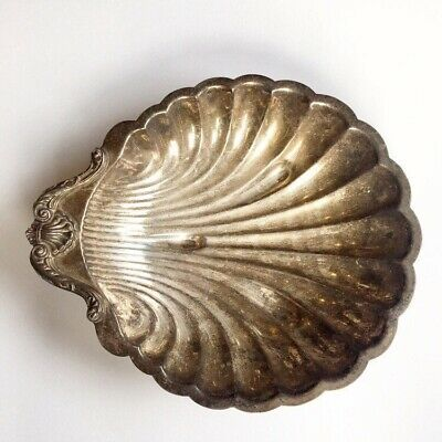 """Vintage Silver Large Clam Shell Serving Dish Bowl 16"""" X 13.5"""""""