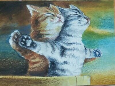 CAT ORIGINAL ACEO Painting Art Card Gift HBD Couple Love Titanic Film