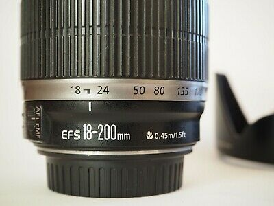 Canon EF-S 18-200mm f/3.5-5.6 IS Lens and EW-78D Hood
