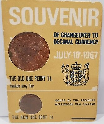 1967 New Zealand Souvenir Currency Changeover Card, 1 Penny & 1 Cent Coins