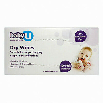 Baby U Dry Wipes 100 Pack Soft and Thick Wipes Fragrance Free