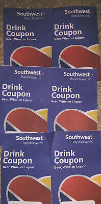 (Qty 6) Southwest Airlines Coupons Drink Voucher Exp 3/31/2020 Fast Shipping