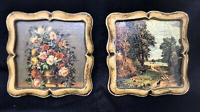 Two Small Vintage Framed Craquelure Accent Prints