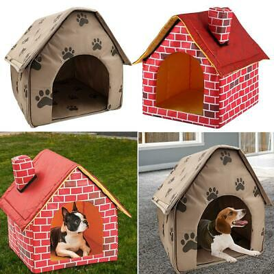 Pet Dog Foldable House Kennel Soft Beds Cave Cat Puppy Bed Doggy Warm Cushion