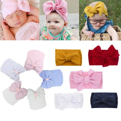 Newborn Infant Hat Colorful Striped Soft with Bow Adjustable  Baby HeadBand UK