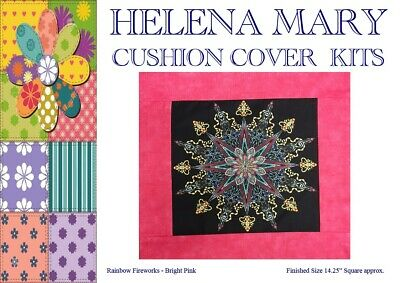 """Patchwork Kit Complete Cushion Cover Kit - Rainbow Firework Bright Pink 14.25""""Sq"""