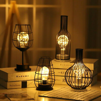 Iron Copper Wire Decorative Lamp Wine Bottle LED Light Table Lamp Industrial