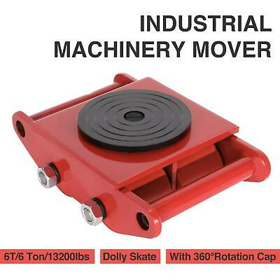 6T Machinery Mover Dolly Skate 4 Rollers 13200lbs 6 Ton with 360°Rotation Cap