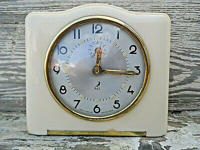 French Wind Up Art Deco Cream Bakelite Alarm Clock By Jaz Nice Condition Gwo