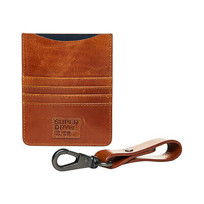 Superdry NEW Men's Leather Travel Wallet Set - Warm Tan BNWT