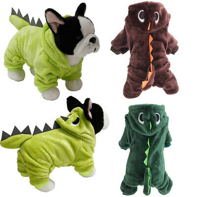 Pet Winter Clothes Dog Cat Puppy Dinosaur Hooded Jumpsuit Costume Coat Jacket UK