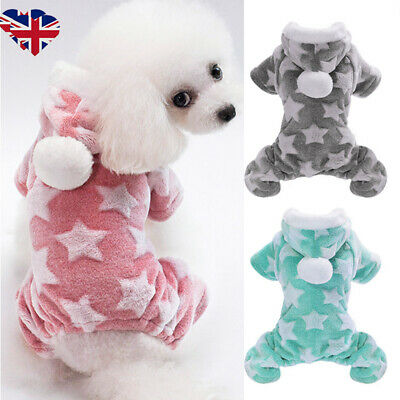 Winter Warm Dog Coats Pet Cat Puppy Stars Print Hoodie Clothes Jumpsuit Costume
