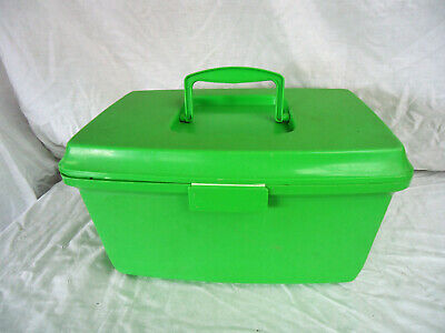 SEWING BOX Vintage GREEN LARGE With Removeable Tray For Cotton Needles Bobbins