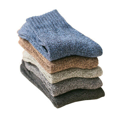 5 Pairs Men Wool Cashmere Thick Warm Soft Solid Casual Sports Socks Winter