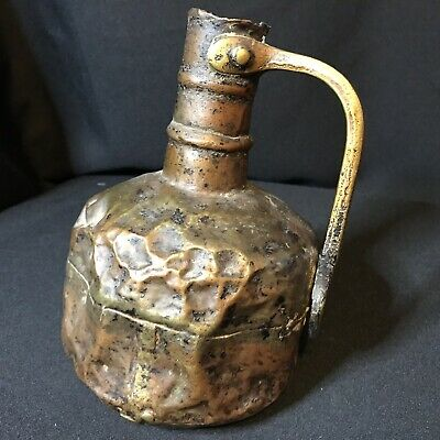 Beautiful Old Antique Copper & Brass Handmade Wine Or Water Flagon