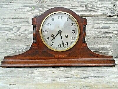 Vintage German (D.r.g.m) Oak Cased 8 Day Chiming Mantle Clock Nice Condition Gwo
