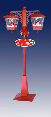 Snowing Christmas Lamp-Post - Twin Lanterns - RED - Santa & Snowman