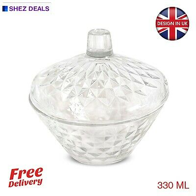 Toffee Candies Crystal Glass Sugar Bowl Dish Serving Centerpiece With Lid