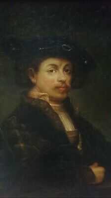 ANTIQUE 19th CENTURY OLD MASTER OIL ITALIAN PAINTING - PORTRAIT REMBRANDT - 1886