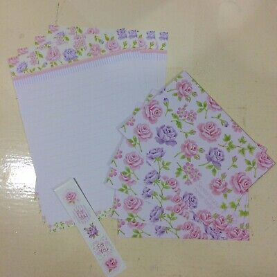 Kawaii Pen Pal Letter Set Writing Paper Stationery Envelope Flower Rose Pink