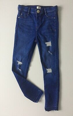River Island Blue Stretch Skinny Distressed Jeans Age 8 Years