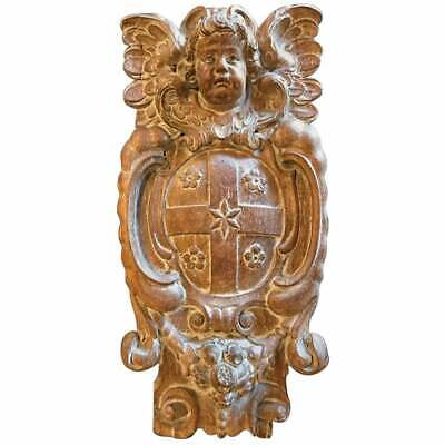 18th Century Dutch or Flemish Carved Oak Armorial Shield with Winged Putto