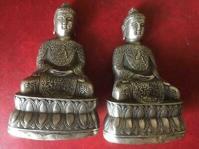 Antique Chinese Silver COLOR PAIR Seated Buddha Statue SIGEND 5 INCH