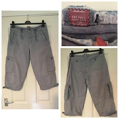 Fat Face Cargo 3/4 Blue Trousers With Pockets Size 12 (A492)