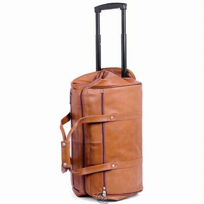 Kluge Rolling Widemouth Cowhide Leather Weekend Travel Bag Tan Luggage Suitcase