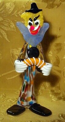 Murano Art Glass Accordion Clown Figurine Italy 10""