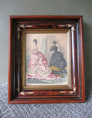 Antique Frame, Victorian Style Shadow Box Wood Glass Front Gold Gilt, Vtg Ladies